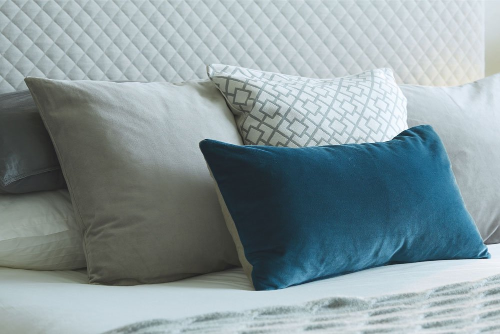 Cushions on bed, The Orchards