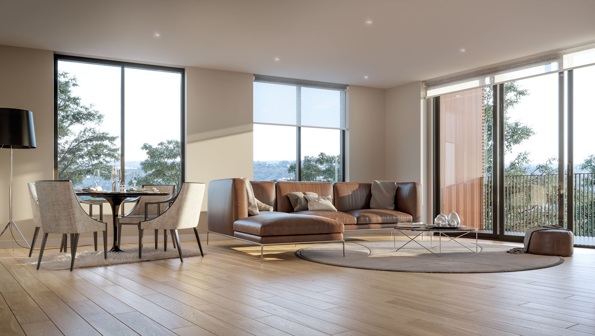 The Orchards apartment lounge and dining interior with timber floorboards and floor to ceiling windows (artist's impression)