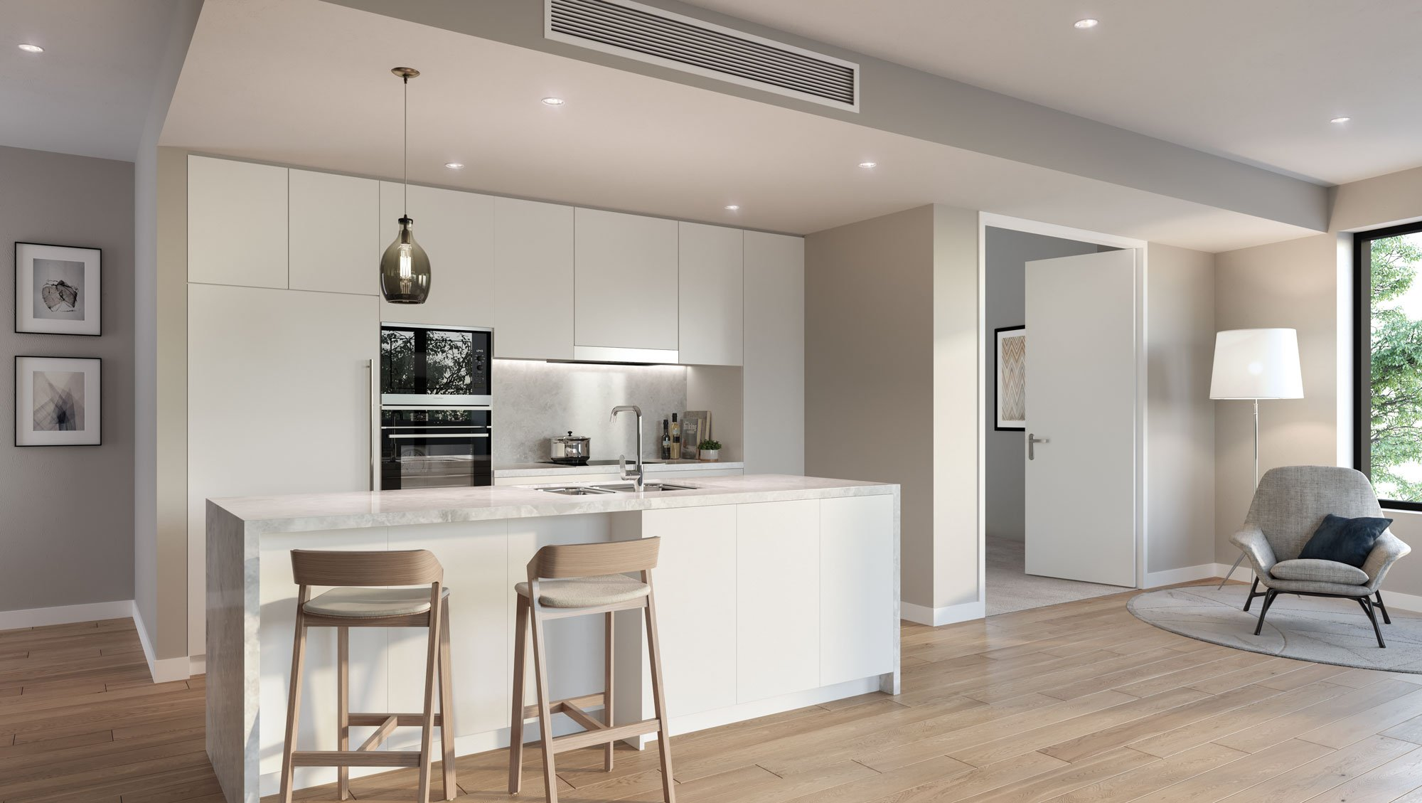 Apartment kitchen interior at The Orchards with Caesarstone bench tops and Miele appliances (artist's impression)