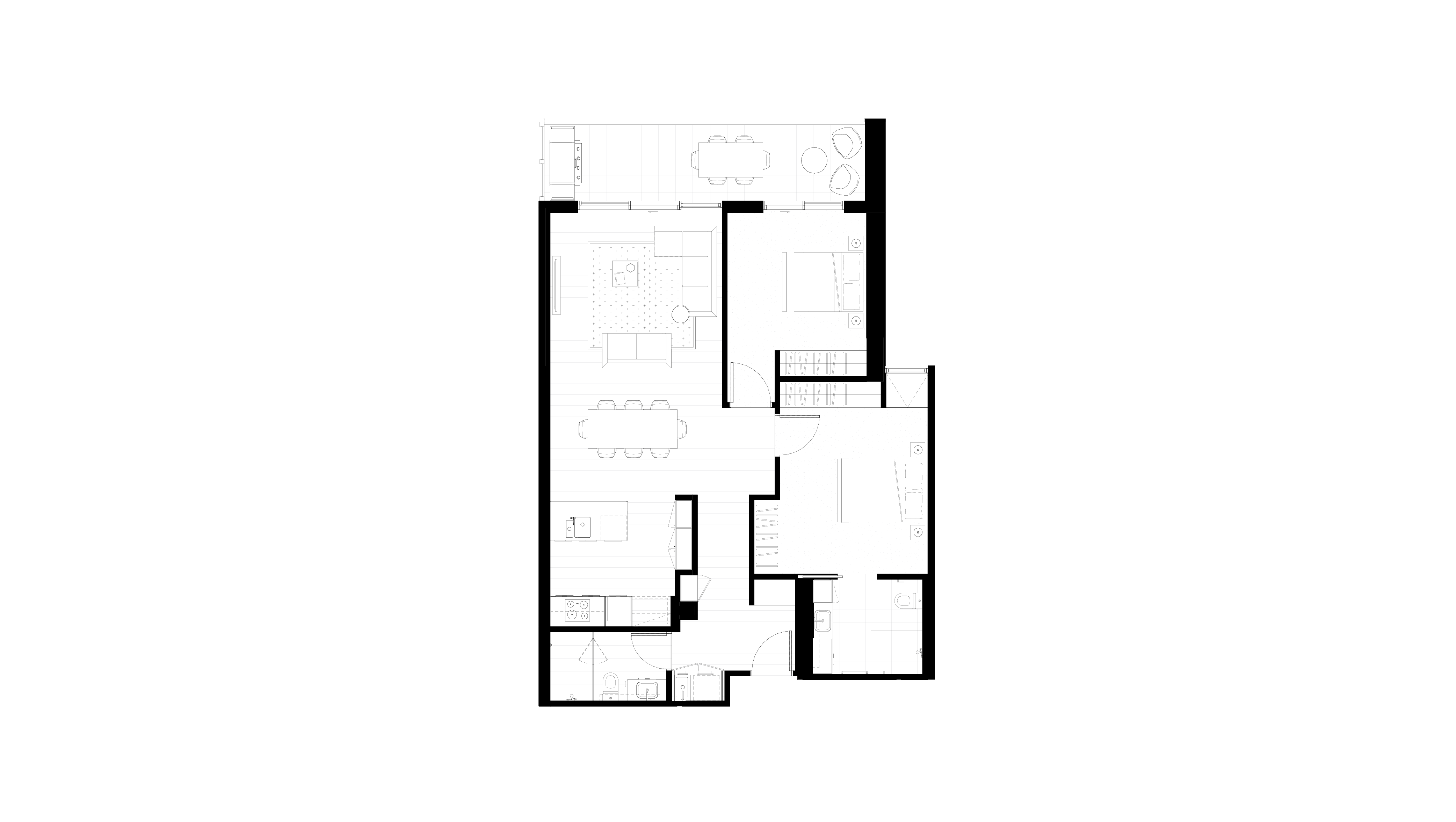 Floor plan of apartment 1.01 at The Orchards, featuring two bedrooms, two bathrooms and balcony
