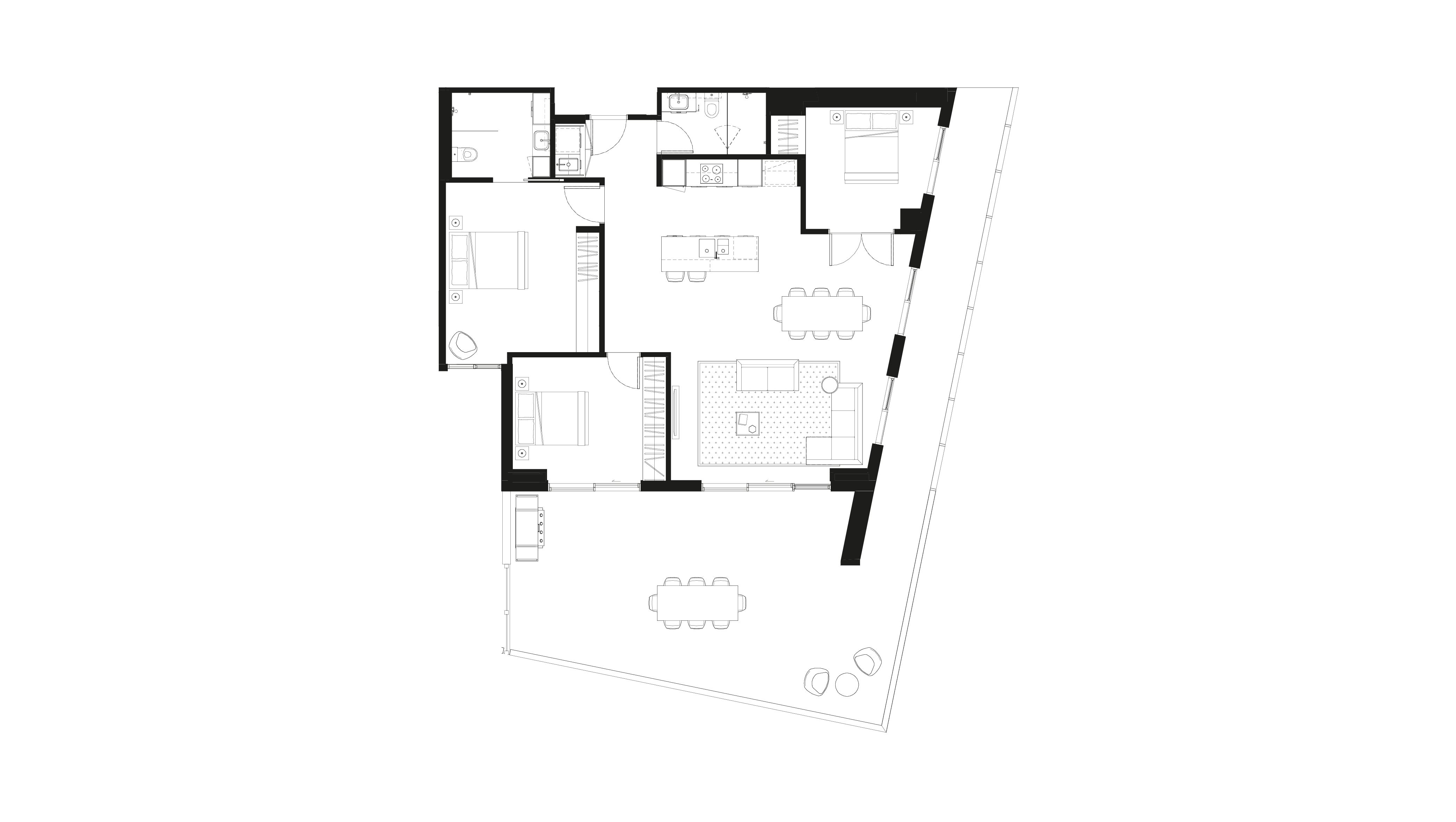 Floor plan of apartment 1.08 at The Orchards, featuring three bedrooms, two bathrooms and large balcony