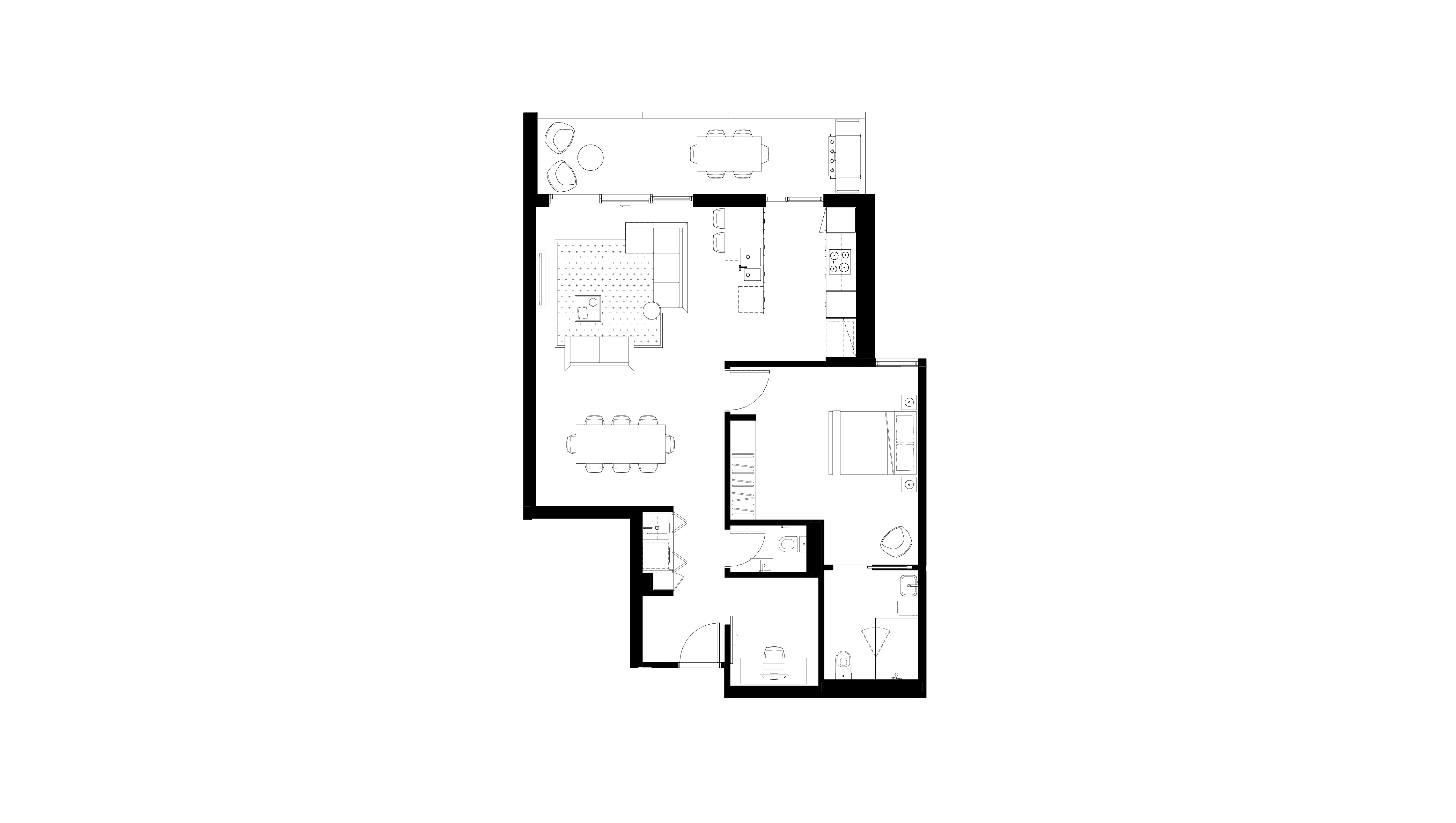 Floor plan of apartment 1.11 at The Orchards, featuring one bedroom, ensuite, powder room and balcony