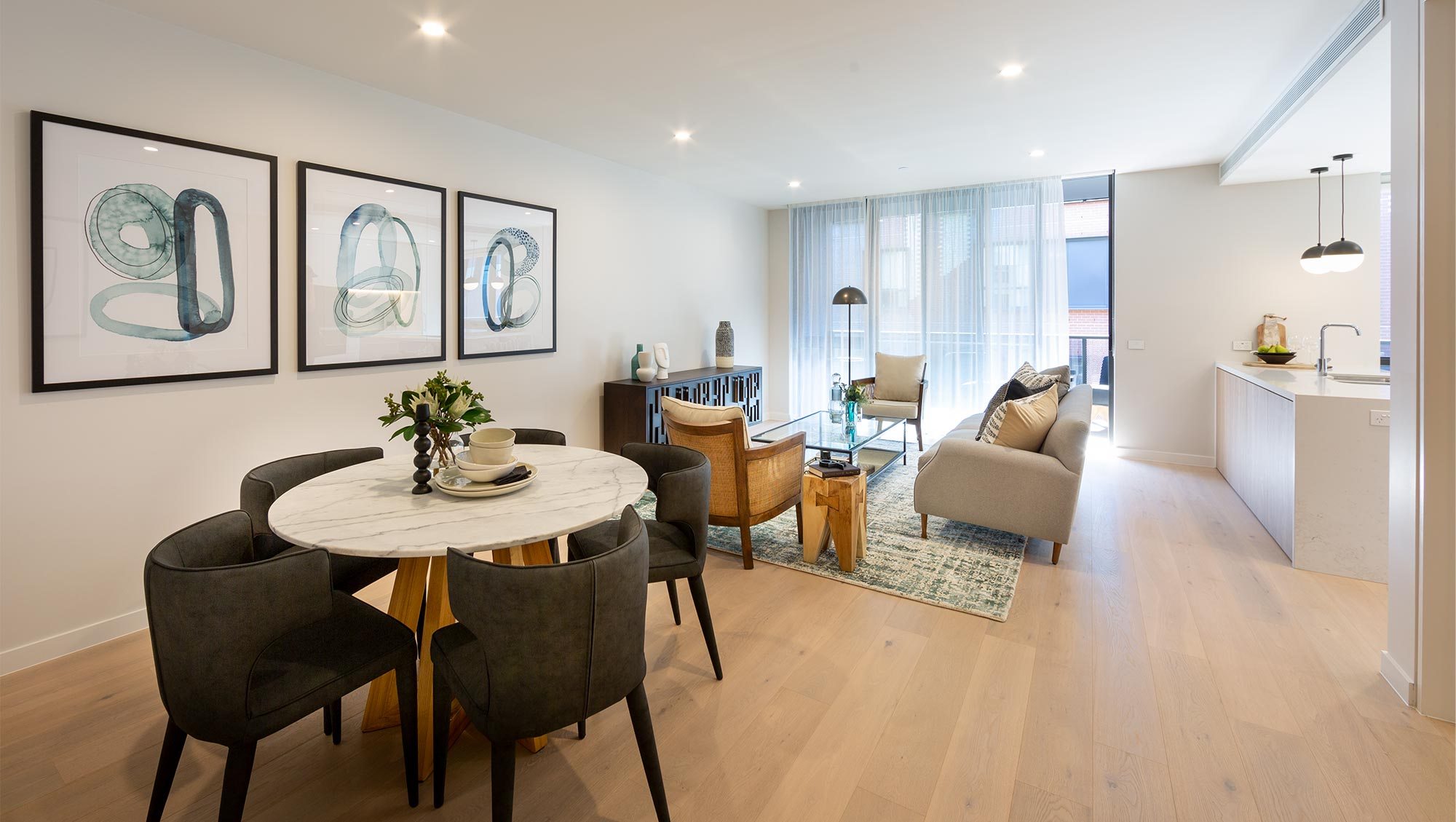 Retirement apartment living/dining room at Baptcare The Orchards Templestowe