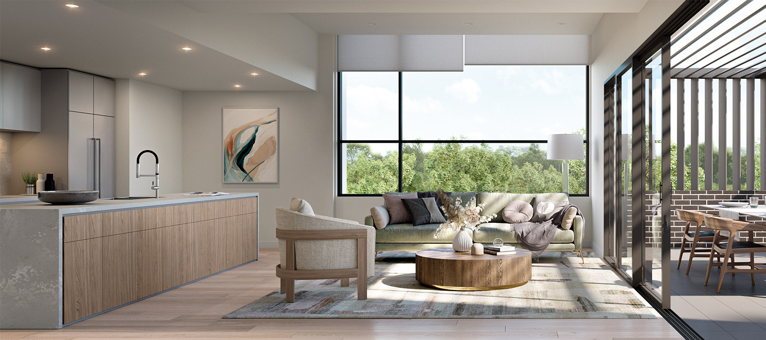 Baptcare, The Orchards - artist impression of villa open plan living with balcony