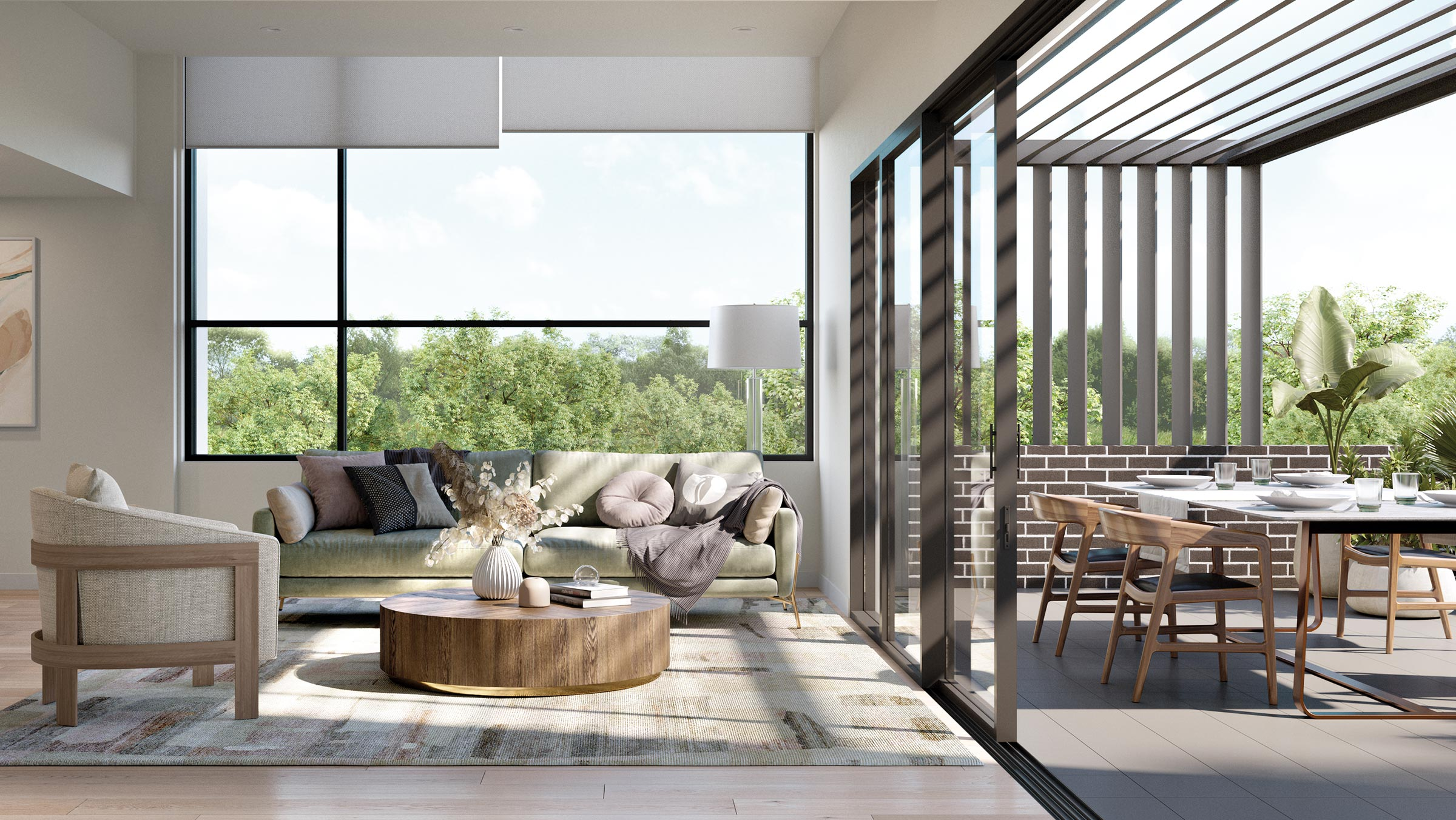 Baptcare, The Orchards - artist impression of villa living/balcony space
