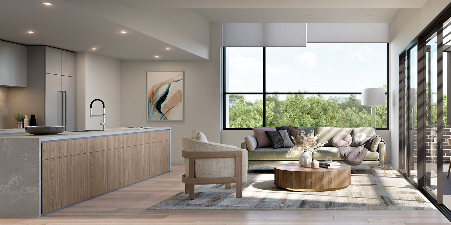 Baptcare, The Orchards - artist impression of villa kitchen/living space